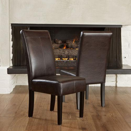 Brown Leather Dining Room Chairs: Parsons Chairs