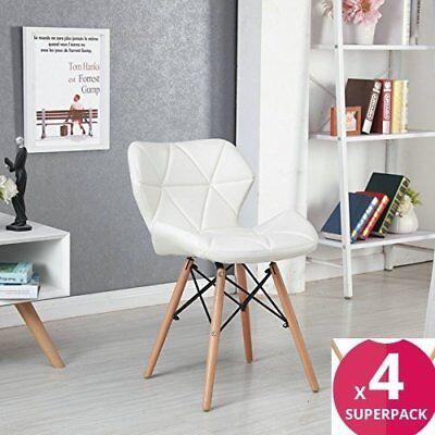 Pack 4 sillas de comedor blanco nórdico diseño sillas de acero de pierna