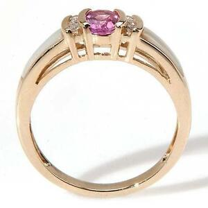 Ladies Pink Sapphire/Diamond/Mother of Pearl Ring
