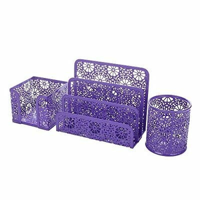 NEW Crystallove Set of 3 Purple Metal Mesh Desktop Supplies Organizer SHIPS FREE - Purple Office Supplies