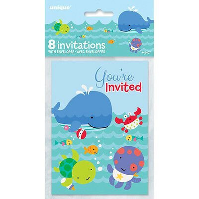 Under The Sea Baby Shower Invitations (BABY SHOWER Under the Sea Pals INVITATIONS (8) ~ Party Supplies Stationery)