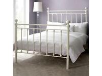 NEW HANNAH IVORY DOUBLE BEDSTEAD WHITE METAL TOP QUALITY DOUBLE BED