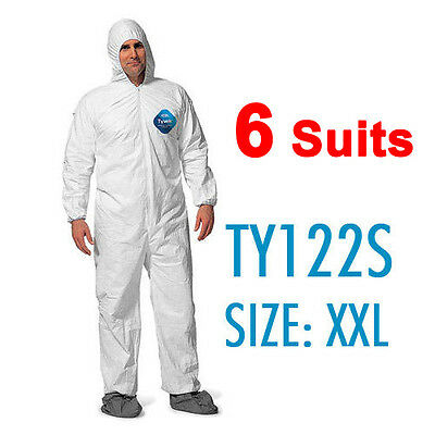 6 Suites Dupont Tyvek Coverall Bunny Suite With Hood And Boots - Ty122s 2xl
