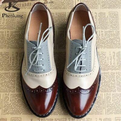 echte braune, weiße & graue Leder Oxford Brogue Schuhe (Weiße Oxford-schuhe)
