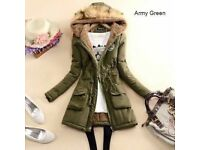 FASHION SOLID COLOR ARTIFICIAL FUR SPLICED HOODED GATHERED WAIST WARM COAT, S