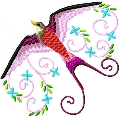 Embroidered Sweatshirt - Beautiful Birds PE02