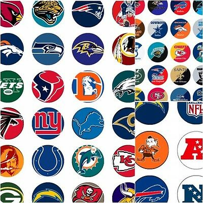 100 Precut assorted NFL All FOOTBALL Teams BOTTLE CAP IMAGES 1 inch discs