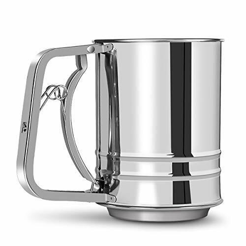 Stainless Steel Flour Sifter 3 Cup with Hand Press, Double Layers Sieve,