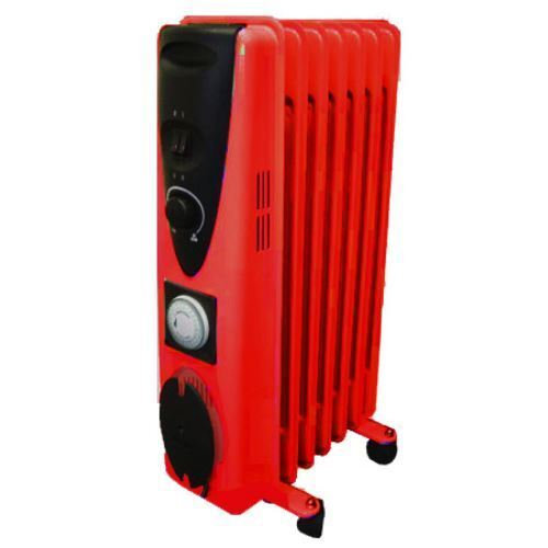 9 Fin 2000w Electric OIL FILLED RADIATOR Heater With Timer & Thermostat - RED