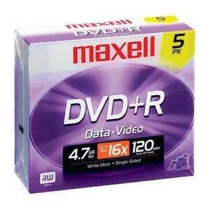 Maxell DVD Recordable Media - DVD+R - 16x - 4.70 GB - 5 Pack Jewel Case - 120mm - 2 Hour Maximum Recording Time - TAA Co