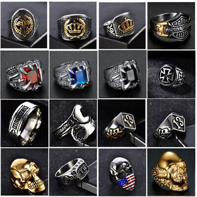 Solid 316L Stainless Steel Gothic Punk Motorcycle Biker Skull Ring Mens -