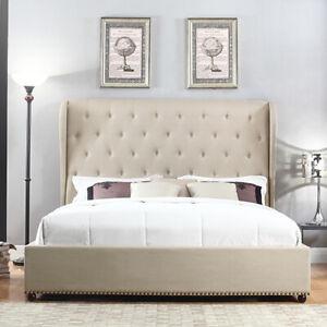 Paris Beige Fabric Queen Size Bed Frame