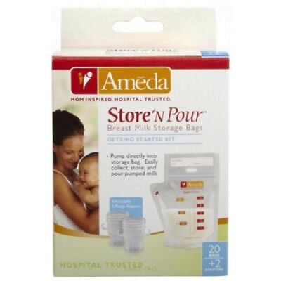 Ameda Store N Pour Breast Milk Storage Bags with Adapters, 2