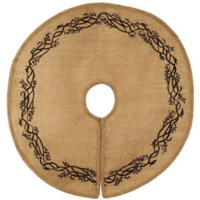 New Country Primitive Farmhouse BURLAP BERRY VINE Christmas Tree Skirt 36""