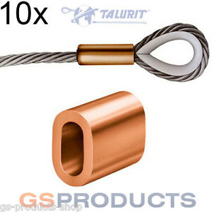 10x 4mm Talurit Copper Ferrules for Stainless Steel Wire Rope Crimping Sleeve