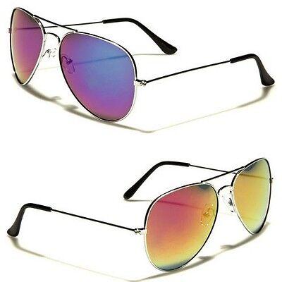 Air force Unisex Aviator Sunglasses Retro Vintage Blue Yellow Mirrored Glasses