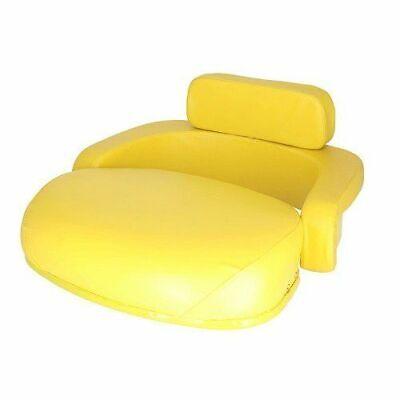 Seat 3-piece Set Vinyl Yellow Compatible With John Deere 4230 3020 4020 7700