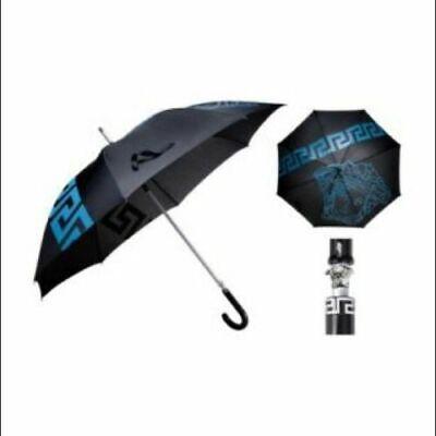 Versace Medusa Executive Unisex Large Umbrella Blue Black Silver W/O Tag. New
