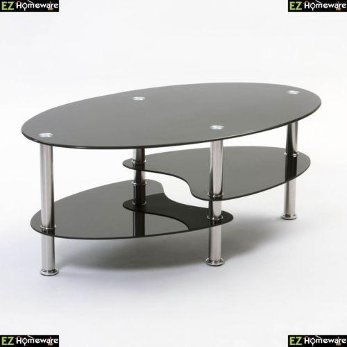 Glass Coffee Table For Sale On Ebay: Cara Black Glass Coffee Table