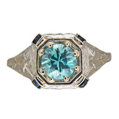 vintage blue zircon ring ebay