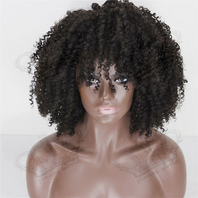 Sexy Fashion Women Short Afro Kinky Curly Cosplay Heat Resistant Full Wigs BLACK - Afro Wig