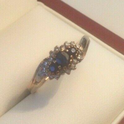 Vintage Sapphire Trilogy & Diamond 9ct Ring - Yellow Gold Size N 3 grams