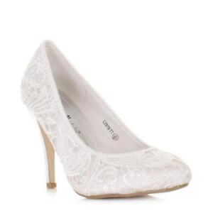 16310770737 White Lace Wedding Shoes