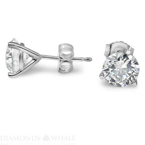 14k White Gold Round Stud Diamond Earrings 1.5 Ct Vs1/d Wedding Enhanced