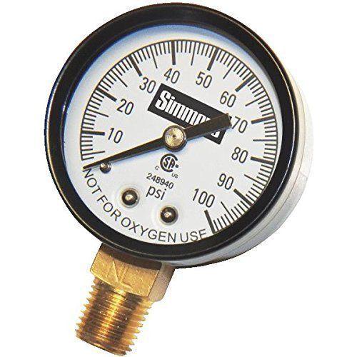 """NEW SIMMONS 1305 100  PSI 1/4"""" LEAD FREE WELL PUMP WATER PRESSURE GAUGE"""
