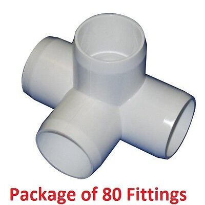 """1-1/4"""" Furniture Grade 4-Way Side Outlet Tee PVC Fitting - 80 Pack"""