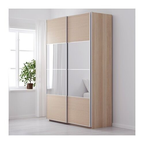 150x236cm wardrobe white stained oak auli mirror ilseng sliding doors