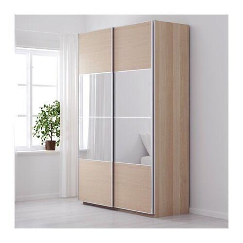 150x236cm wardrobe white stained oak auli mirror ilseng sliding doors