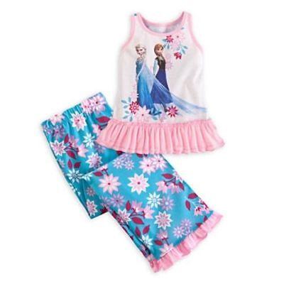 8111 Disney Store Cartoon Frozen Princess Girl's Cute Pajamas Set 2PC Sleepwear  (Cute Girl Pajamas)