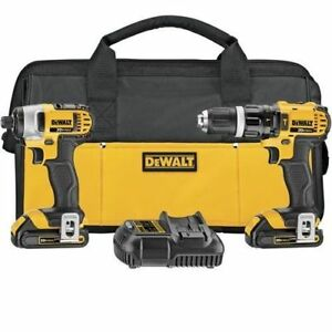 DEWALT 20-V Li-Ion 1.5 Ah Hammer Drill and Impact Combo Kit-New