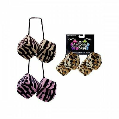 Pink Zebra Fuzzy Dice For Bikes or Car Mirror - Total of 4 Dice](Pink Dice For Car)
