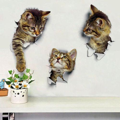 Katze Wand Aufkleber 3D Bild Wandtattoo Schrank Bad Badezimmer WC Toilettendecke