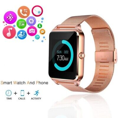 Rose Gold Smart Wrist Watch Steel Band Phone for Android iPhone XR XS Galaxy S10