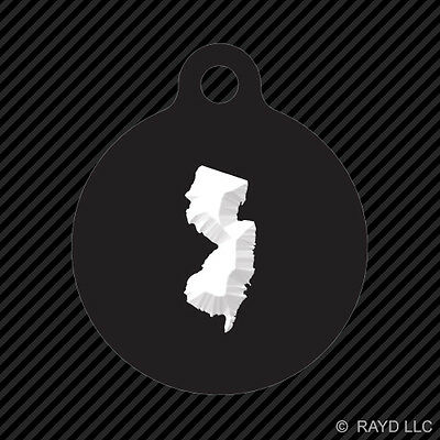 New Jersey Shaped Keychain Round with Tab dog engraved many colors NJ