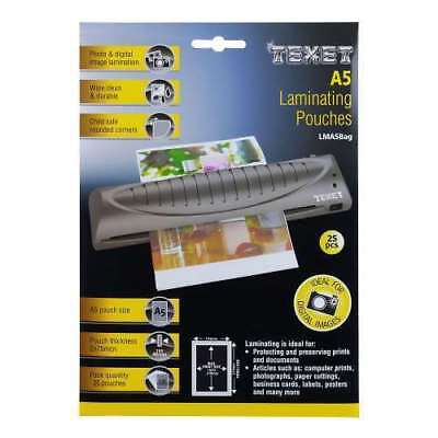 Texet A5 Laminating Pouches Laminator Sheets Pack Of 25 Pockets 150 Mcn