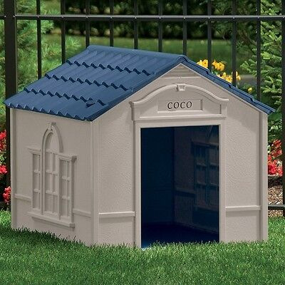XL Dog House w Vinyl Doors Durable Outdoor Weather Pet Shelter Extra Large Bed