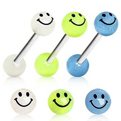 New Surgical Steel Smiley Face Glow in the Dark Tongue Bar Blue Yellow White  (Blue Glow In The Dark)