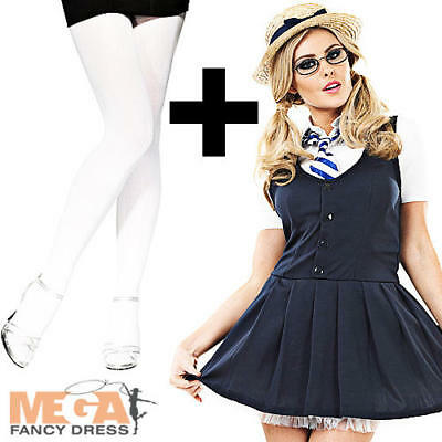 Sexy School Girl + Tights Ladies Fancy Dress Uniform Hen Womens Costume Outfit - Tights Schoolgirl