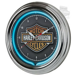 Harley-Davidson Essential B&S Blue Neon Clock w/ Chrome Housing HDL-16675