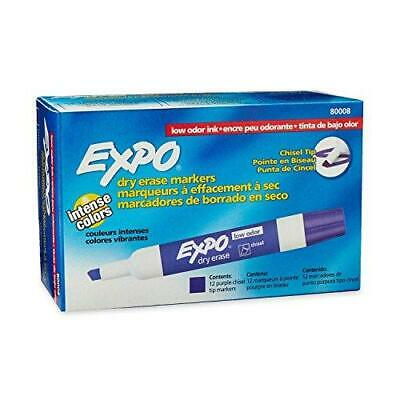 Expo 80008 Low-odor Dry Erase Markers Chisel Tip Purple 12-count