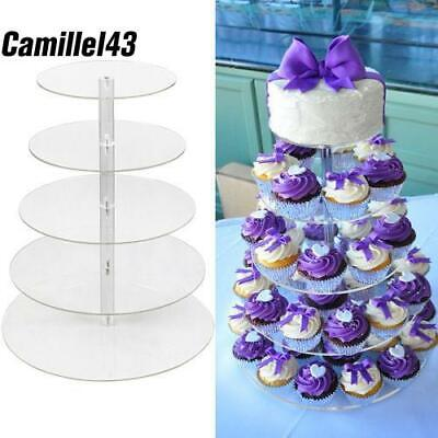 5Tier Round Adjustable Wedding Acrylic Cupcake Stand Tree Clear Tower Cake Displ