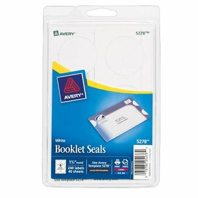 240 Pc 1.5 Avery Mailing Round Seal Label Set For Laserink Jet Printers White