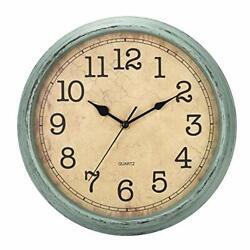 HYLANDA 12 Inch Vintage/Retro Wall Clock, Silent Non-Ticking Quartz Blue-green