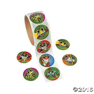Roll of 100 Frog Stickers Birthday Party Favors Kids Crafts Scrapbooking
