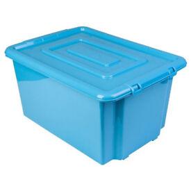 Blue plastic stackable large storage box 52l