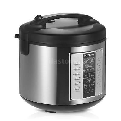 Stainless Steel 5L 20Cup (Cooked) Digital Auto Cooked Rice Cooker w/Food Steamer